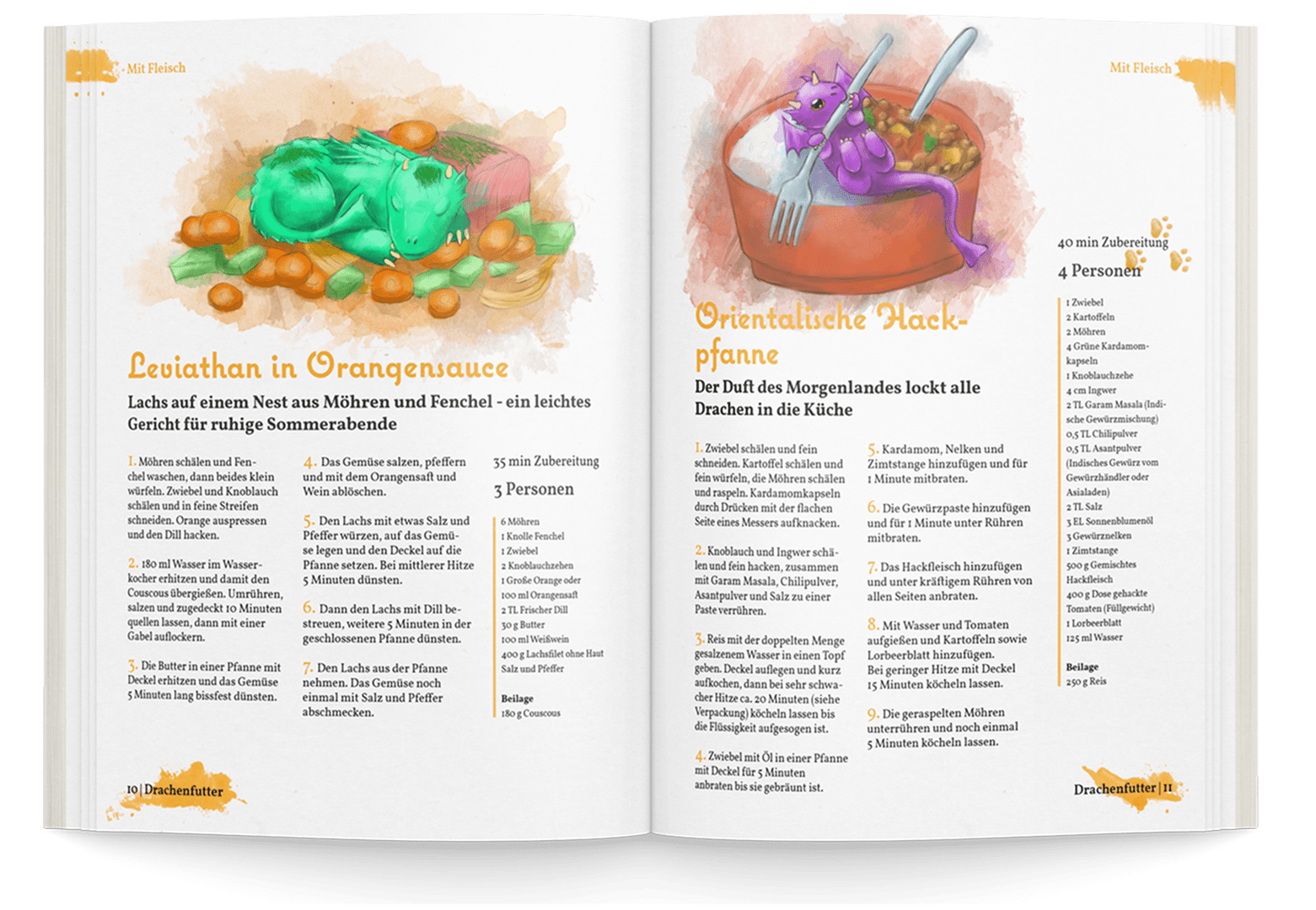 Fantasy Kochbuch Beispielseiten